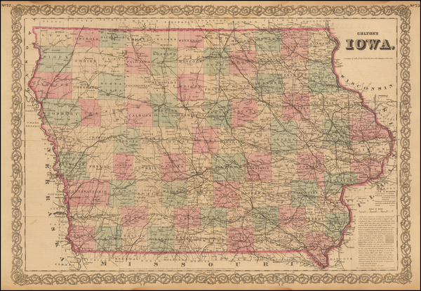 27-Midwest and Iowa Map By G.W.  & C.B. Colton