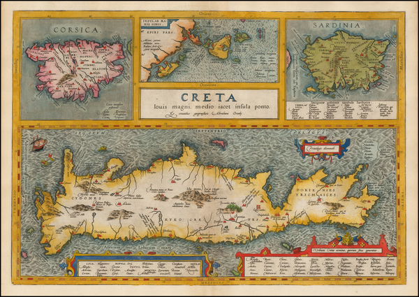 49-Greece, Corsica and Sardinia Map By Abraham Ortelius