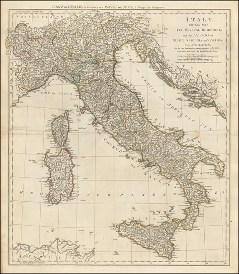 Italy and Mediterranean Map By Robert Sayer  &  John Bennett