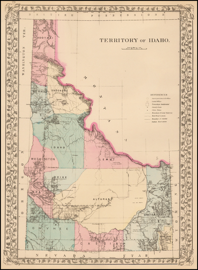 92-Idaho Map By Samuel Augustus Mitchell Jr.