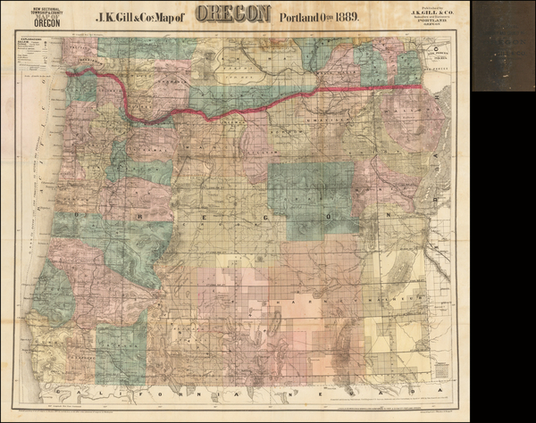 94-Oregon Map By J.K. Gill & Co.