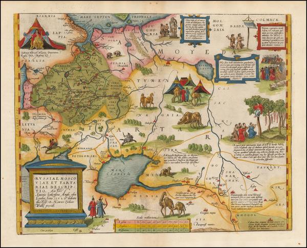 38-Russia, Ukraine, Central Asia & Caucasus and Russia in Asia Map By Abraham Ortelius