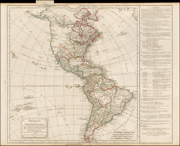 53-South America and America Map By Didier Robert de Vaugondy / Charles Francois Delamarche