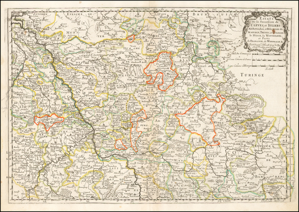 42-France and Germany Map By Nicolas Sanson