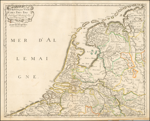 16-Netherlands Map By Nicolas Sanson