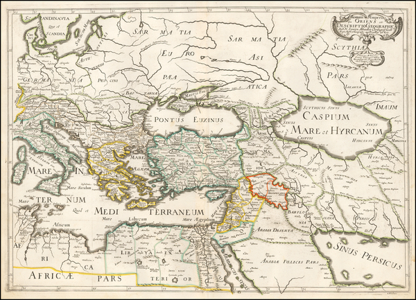Mediterranean and Middle East Map By Melchior Tavernier / Nicolas Sanson