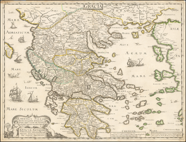 97-Greece Map By Melchior Tavernier / Pierre Mariette / Nicolas Sanson