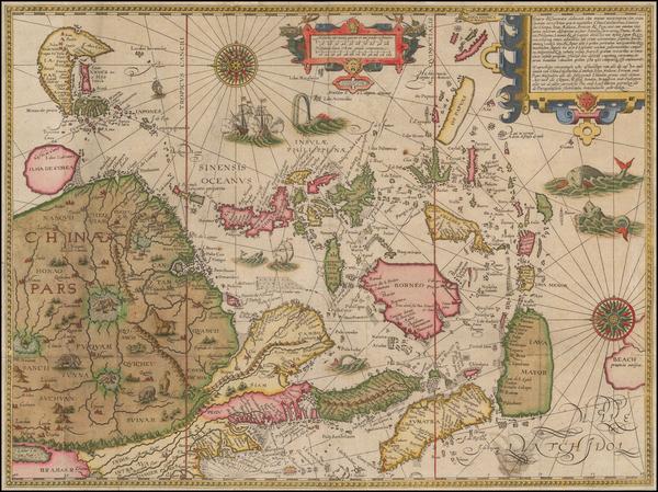 63-China, Japan, Korea, Southeast Asia and Philippines Map By Jan Huygen Van Linschoten
