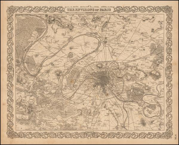 32-Paris Map By Joseph Hutchins Colton