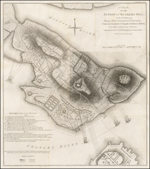 51-Massachusetts, Boston and American Revolution Map By Charles Stedman / William Faden