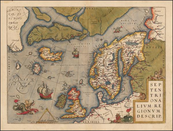 80-Polar Maps, Atlantic Ocean and Scandinavia Map By Abraham Ortelius
