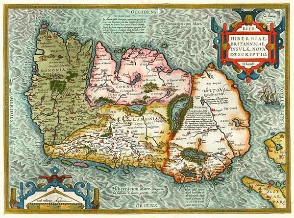 98-Ireland Map By Abraham Ortelius