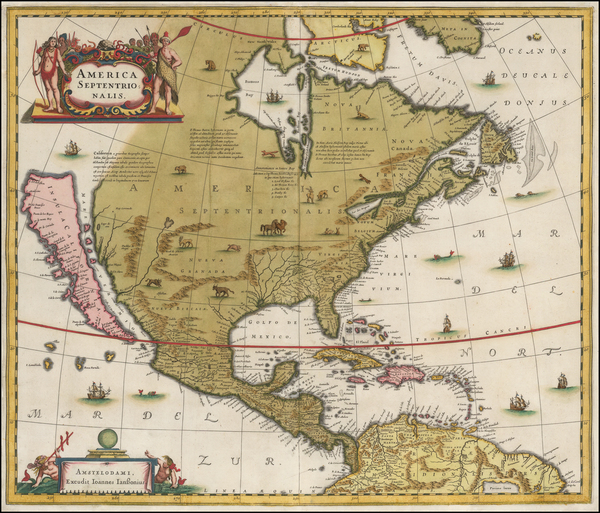 53-North America and California as an Island Map By Henricus Hondius / Jan Jansson