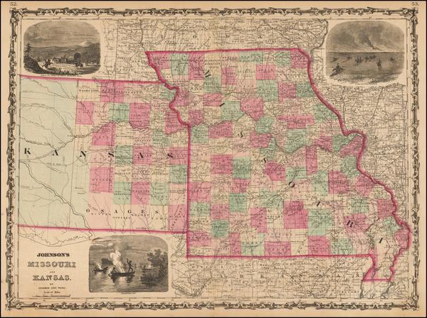 51-Midwest, Plains, Kansas and Missouri Map By Benjamin P Ward  &  Alvin Jewett Johnson