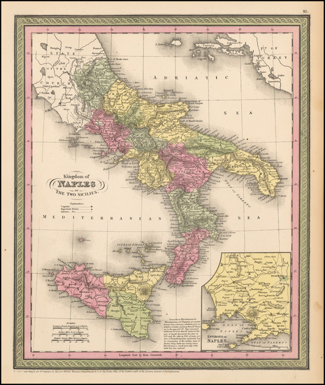 62-Italy, Southern Italy, Mediterranean and Balearic Islands Map By Thomas, Cowperthwait & Co.