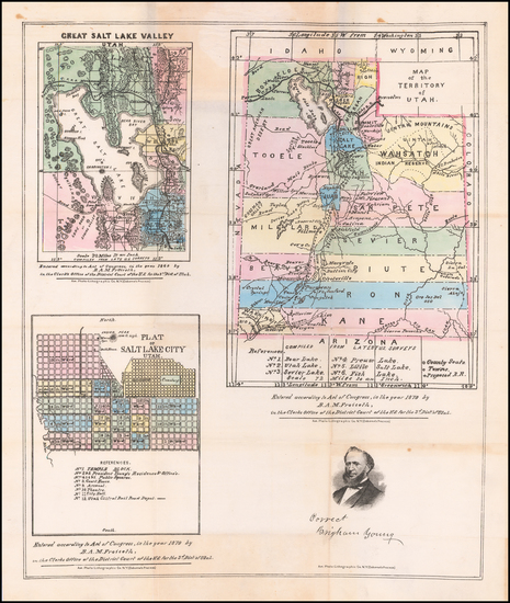 75-Utah and Utah Map By B.A.M. Froiseth