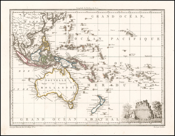 Australia and Oceania Map By Conrad Malte-Brun