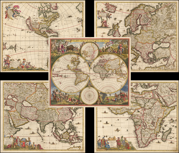 85-World, Europe, Asia, Africa, California as an Island and America Map By Frederick De Wit