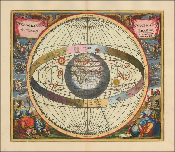 95-World, Eastern Hemisphere, Curiosities and Celestial Maps Map By Andreas Cellarius