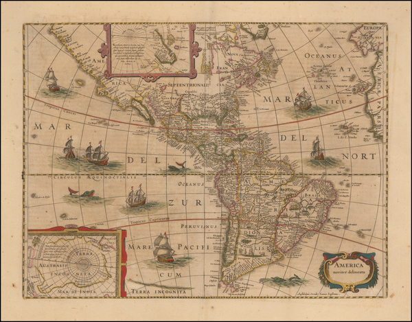 73-South America and America Map By Jodocus Hondius / Jan Jansson