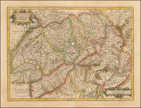 32-Switzerland Map By  Gerard Mercator
