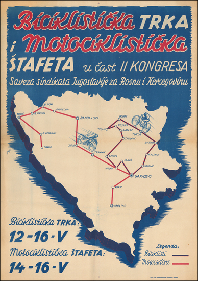 Bosnia & Herzegovina and Pictorial Maps Map By Anonymous