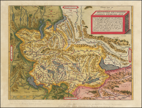 37-Switzerland Map By Abraham Ortelius
