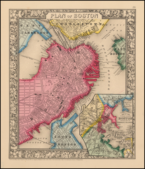 14-New England and Boston Map By Samuel Augustus Mitchell Jr.