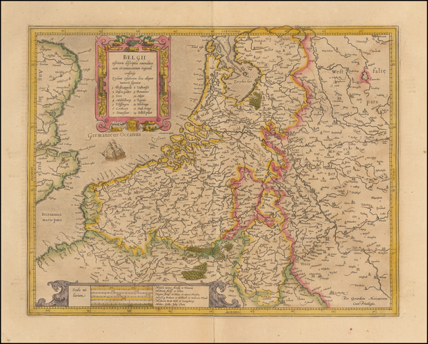 55-Netherlands and Luxembourg Map By  Gerard Mercator