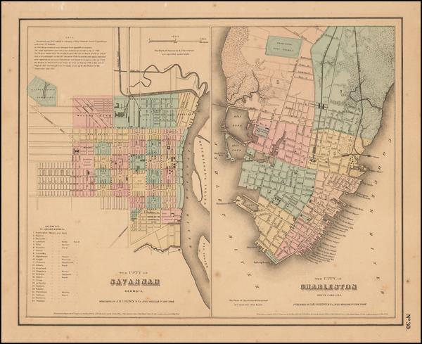96-Southeast and South Carolina Map By Joseph Hutchins Colton