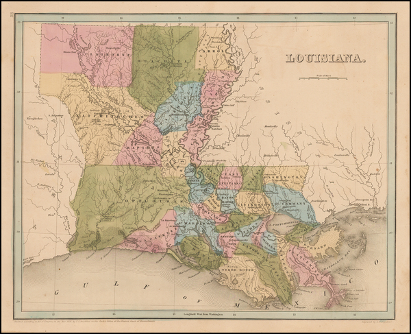 80-South and Louisiana Map By Thomas Gamaliel Bradford