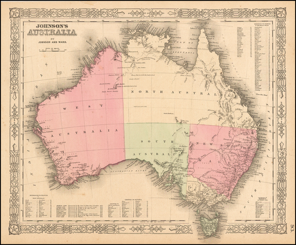 84-Australia Map By Alvin Jewett Johnson  &  Browning