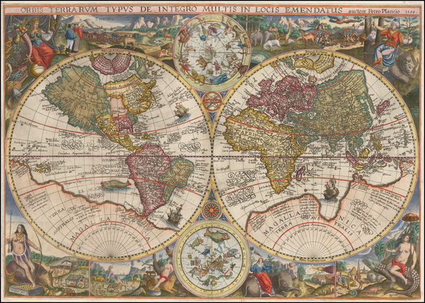 98-World, World and Celestial Maps Map By Petrus Plancius