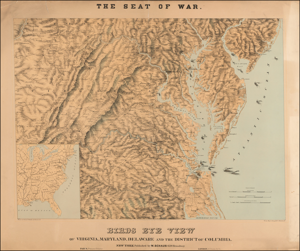 Mid-Atlantic, Washington, D.C., Maryland, Delaware, Southeast and Virginia Map By J. Schedler / Sarony, Major & Knapp