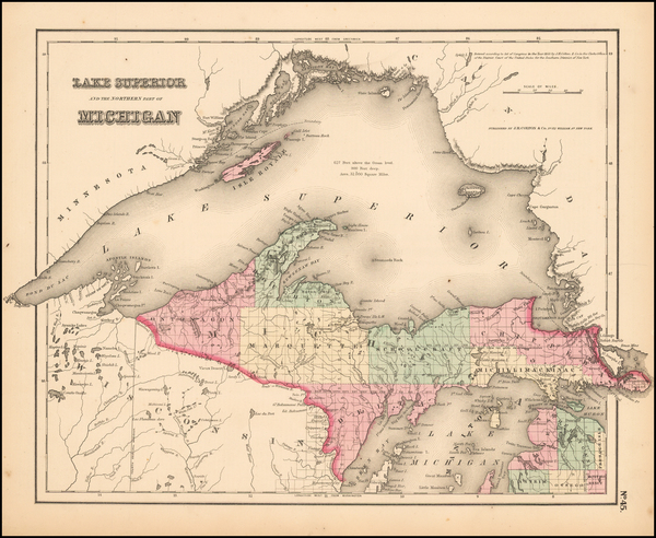 55-Midwest and Michigan Map By Joseph Hutchins Colton