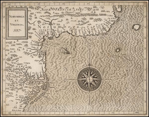 27-New England and Mid-Atlantic Map By Cornelis van Wytfliet