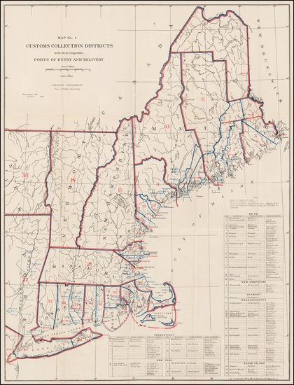 73-New England Map By United States Treasury Department