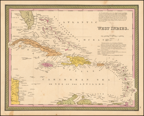 32-Caribbean Map By Thomas, Cowperthwait & Co.