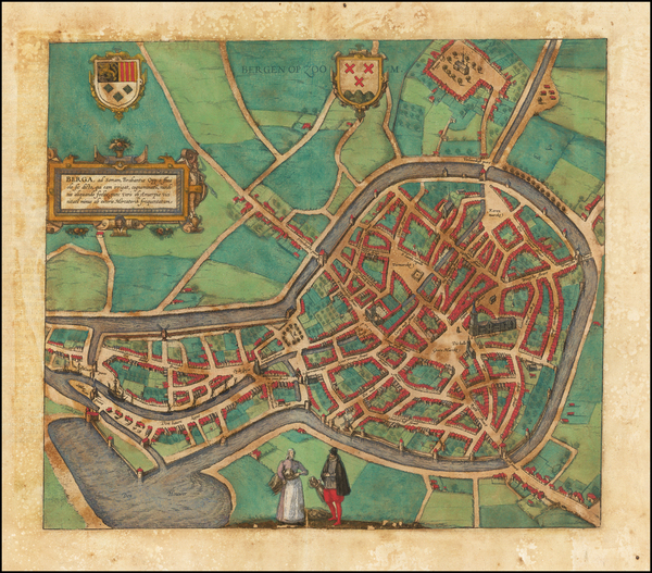 18-Netherlands Map By Georg Braun  &  Frans Hogenberg
