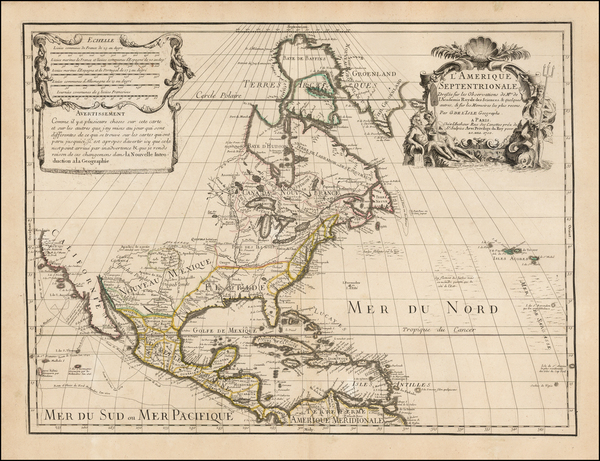 84-North America and California Map By Guillaume De L'Isle