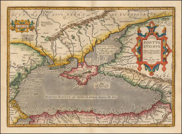 100-Ukraine, Romania, Turkey and Turkey & Asia Minor Map By Abraham Ortelius