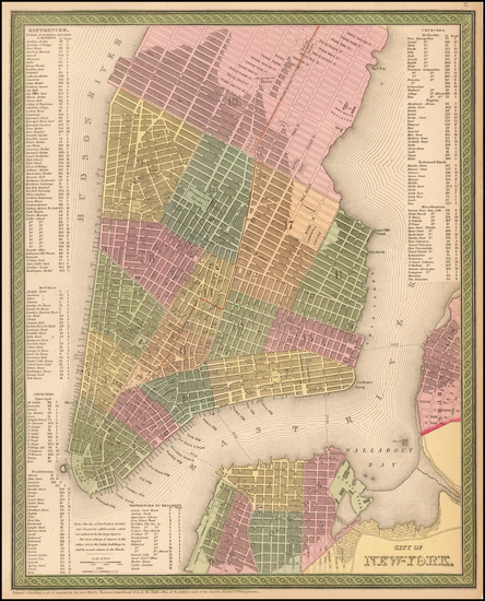 New York City Map By Thomas, Cowperthwait & Co.