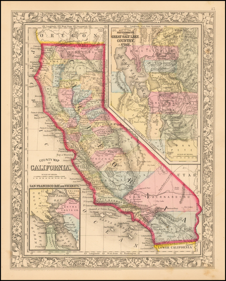 68-California Map By Samuel Augustus Mitchell Jr.