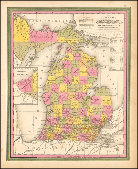 88-Michigan Map By Samuel Augustus Mitchell