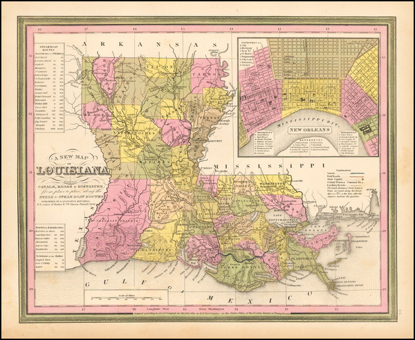 21-Louisiana Map By Samuel Augustus Mitchell