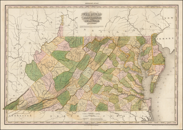 36-Mid-Atlantic, Maryland, Delaware, Southeast and Virginia Map By Henry Schenk Tanner