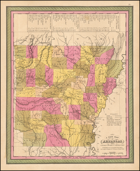 32-South and Arkansas Map By Samuel Augustus Mitchell