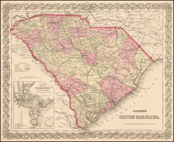 72-South Carolina Map By G.W.  & C.B. Colton