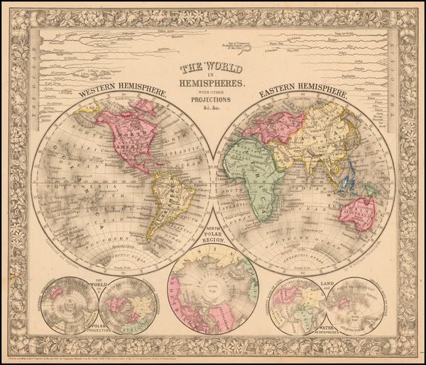 World Map By Samuel Augustus Mitchell Jr.