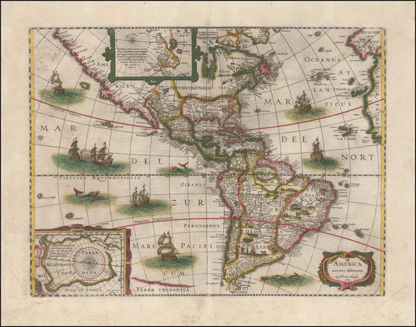 22-South America and America Map By Henricus Hondius